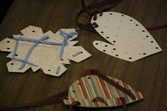 mitten, hat and snowflake lacing cards with shoelaces