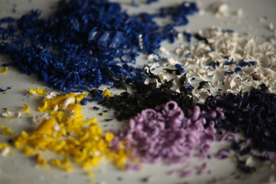 grated crayon shavings for Starry Night art project