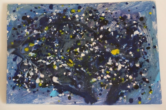 art with grated crayons starry night