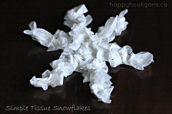 Simple Tissue Paper Snowflake Ornament Craft for Preschoolers