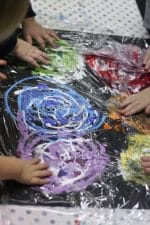 Toddler Art Project – Smoosh Painting on an Old Canvas