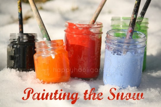 painting the snow with tempera paints - happy hooligans