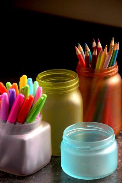 jars, glue, food colouring