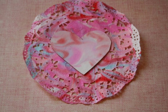 heart and doily shaving cream and food colouring