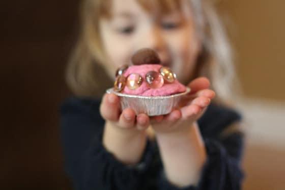 playdough cupcake with beads