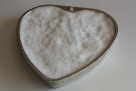 heart shaped feeder filled with corn, chestnuts and snow