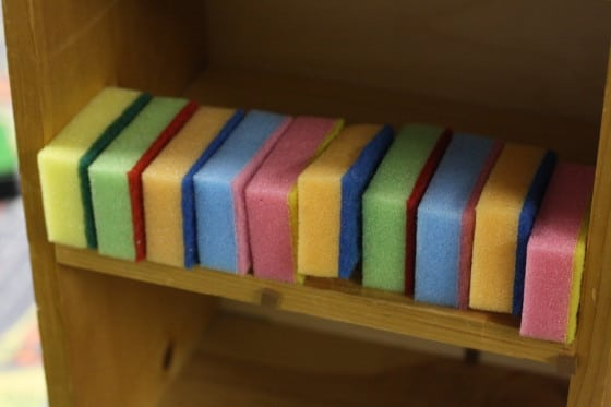 sponges lined up in the dollhouse