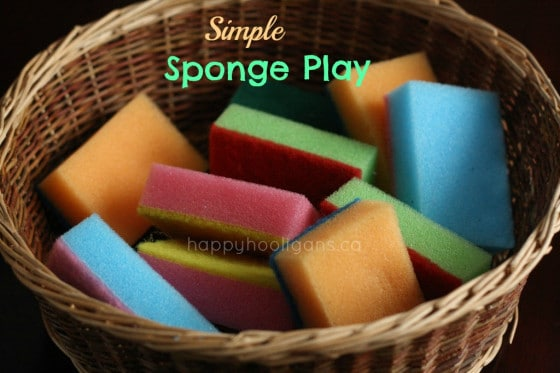 coloured sponges in a basket