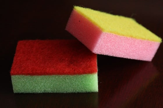 playing with coloured sponges