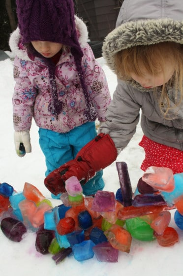 coloured ice sculptures