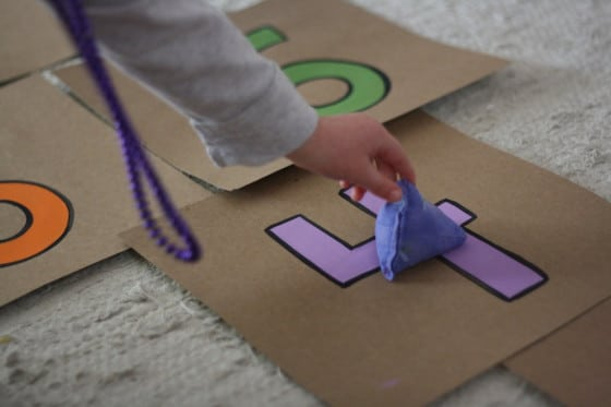 easy indoor hopscotch & beanbag