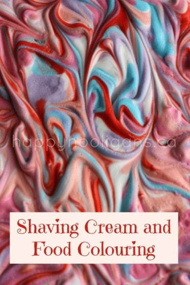 Shaving Cream and Food Colouring Marbleized Valentines