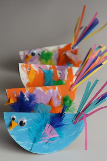 4 paper plate birds