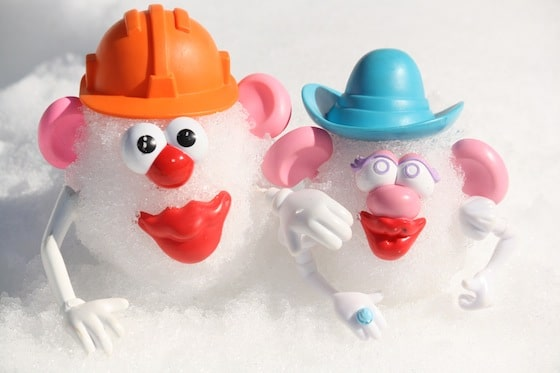 potato heads in the snow