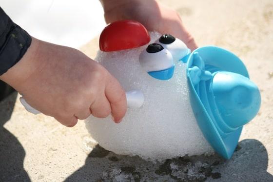 Mr. Potato Head on a snowball.