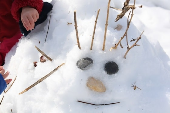 face in the snow with sticks, shells and stones