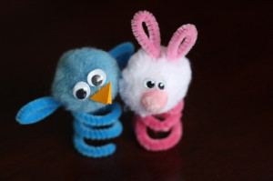Easter finger puppets - blue bird and pink bunny