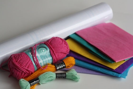 tissue paper, contact paper, yarn