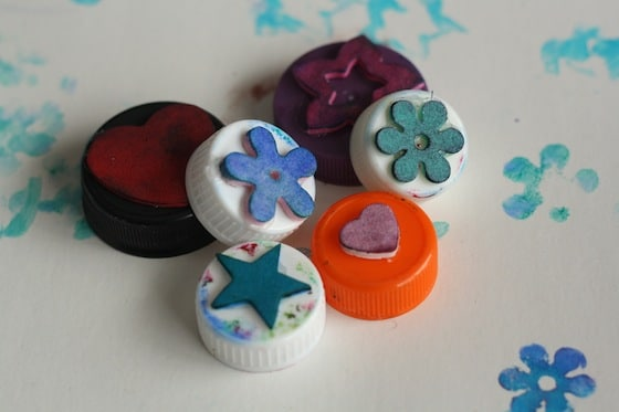 homemade stamps with bottle tops and craft foam shapes - happy hooligans