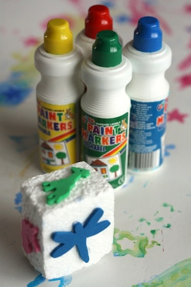 styrofoam block and foam pieces for homemade stamps