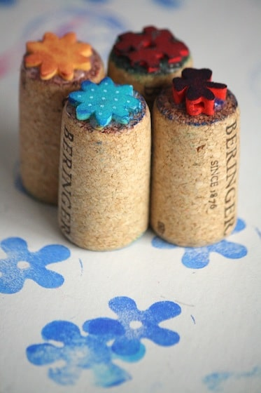 homemade stamps from wine corks and craft foam flowers