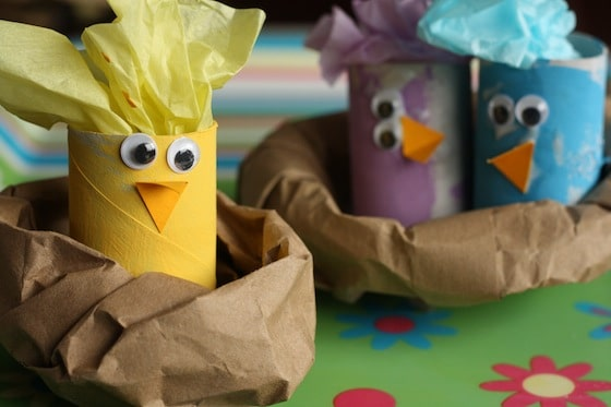 toilet roll chicks in paper bag nests - an easy easter craft for kids