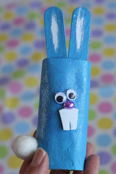 blue, shimmery toilet roll easter bunny