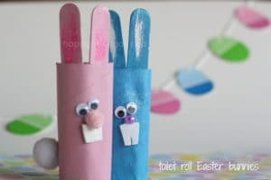 toilet roll Easter bunnies and paint chip garland