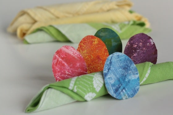 green and yellow napkins in Easter Egg napkin rings