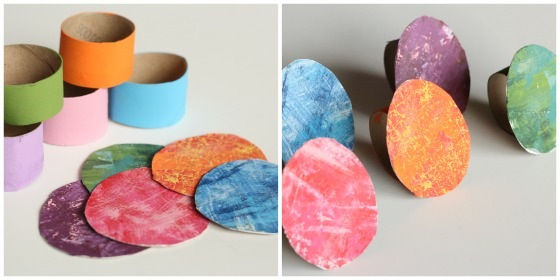 making eric carle napkin rings with cardboard rolls