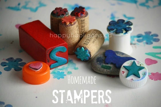 a variety of homemade stamps for kids using household items - happy hooligans
