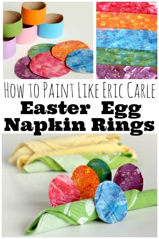 How to paint like Eric Carle and Homemade Easter Napkin Rings