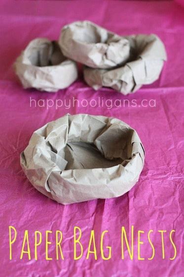 Easy Paper Bag Bird's Nest for Preschoolers to Make