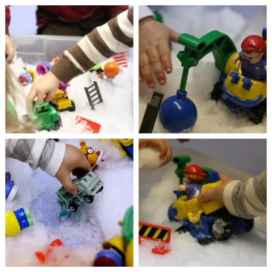 snow sensory  bin collage