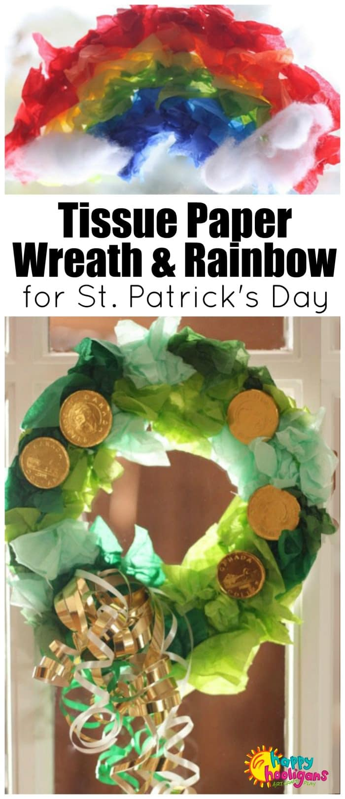2 cute and easy St. Patrick's Day crafts for preschoolers to make: Lucky Green Wreath & tissue paper rainbow.