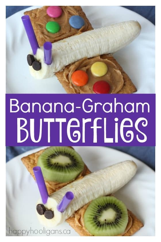 Banana Graham Butterflies - a healthy snack for toddlers and preschoolers