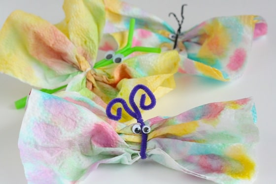Paper towel butterfly crafts (3 ways to make)