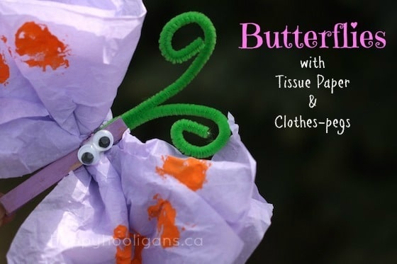 purple tissue paper clothespin butterfly