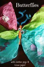 Tissue Paper Clothespin Butterflies