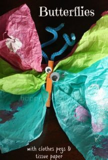 tissue paper clothespin butterflies by happy hooligans