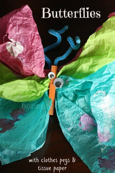 Tissue Paper Clothespin Butterfly Craft