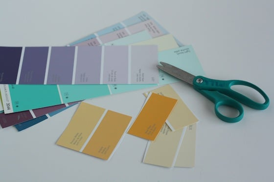 scissor exercises - cutting paint chip samples