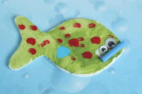 finished styrofoam fish fridge magnet
