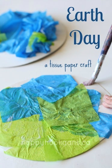 Tissue Paper Earth Day craft for toddlers and preschoolers