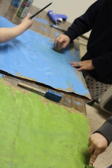 painting paper bags for mermaid crown