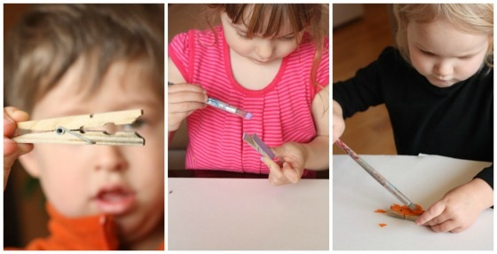 toddlers and preschoolers painting clothespins