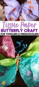 Preschool butterfly craft long pin