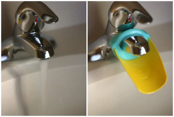 photo showing how faucet extender fits on over bathroom tap