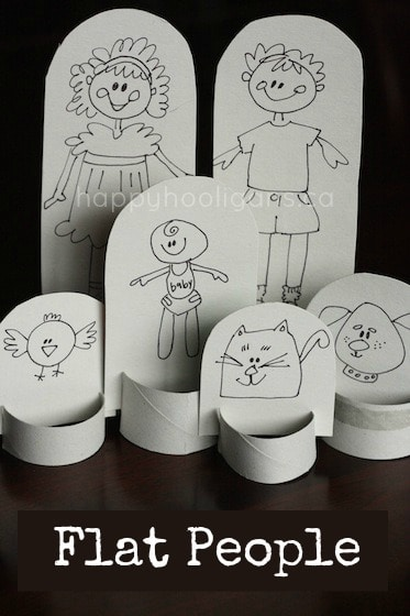 flat people - homemade paper doll family out of cardboard and a toilet roll tube