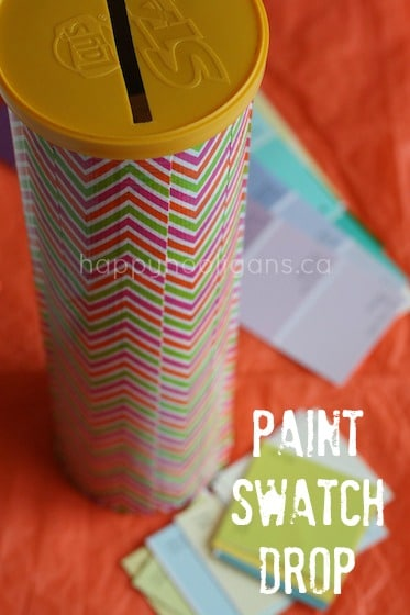 Pringles Can and Paint Swatch Fine Motor Activity for Toddlers